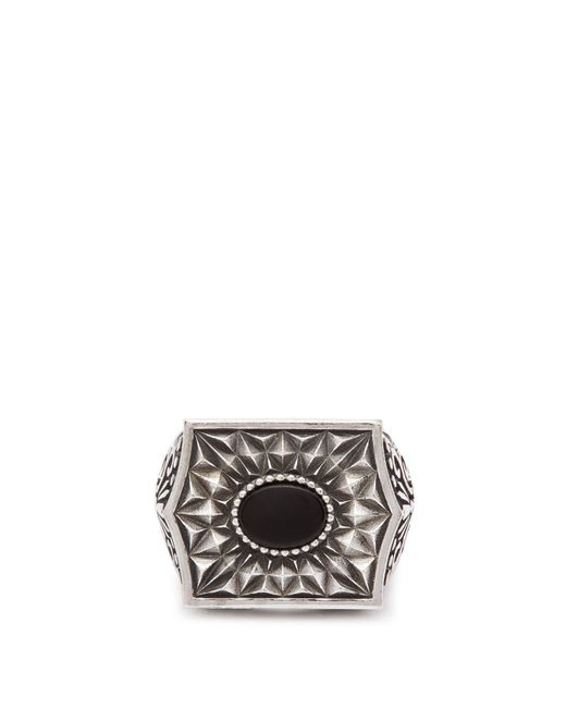 Emanuele Bicocchi Metallic Chevalier Sterling Silver Ring for men