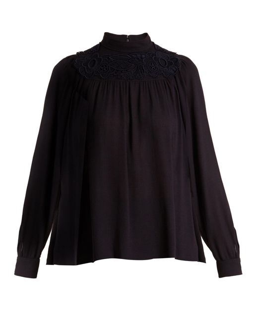 Chloé | Black Embroidered Crepe Blouse | Lyst