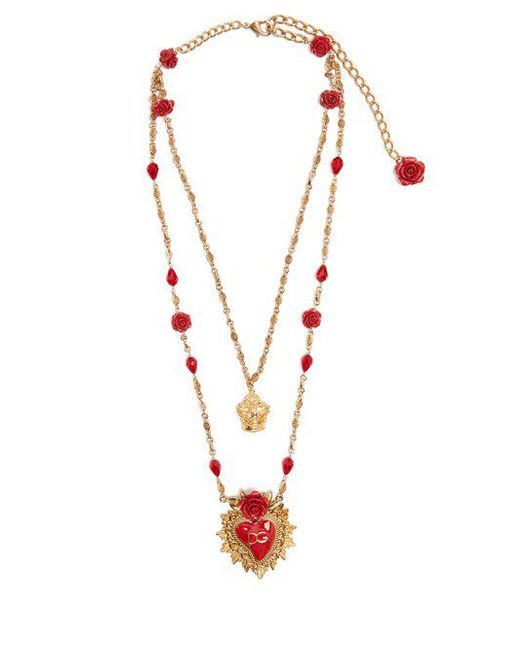 Dolce & Gabbana - Red Rose-embellished Double-chain Necklace - Lyst