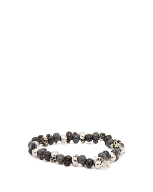 Alexander McQueen - Metallic Skull Bead Bracelet for Men - Lyst