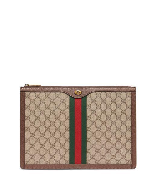 Gucci - Brown Pochette en toile et cuir Suprême GG for Men - Lyst