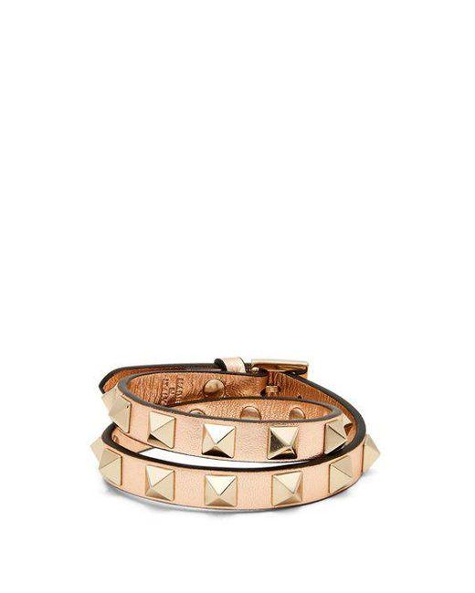 Valentino - Multicolor Rockstud Wraparound Leather Bracelet - Lyst