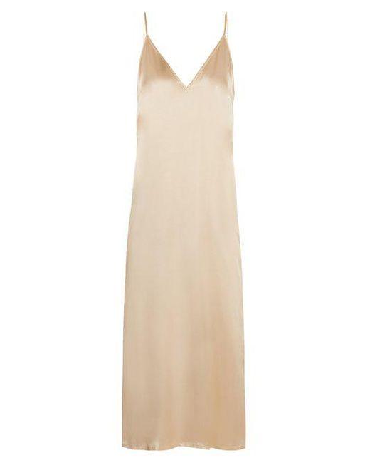 Raey - Metallic V-neck Silk-satin Midi Slip Dress - Lyst