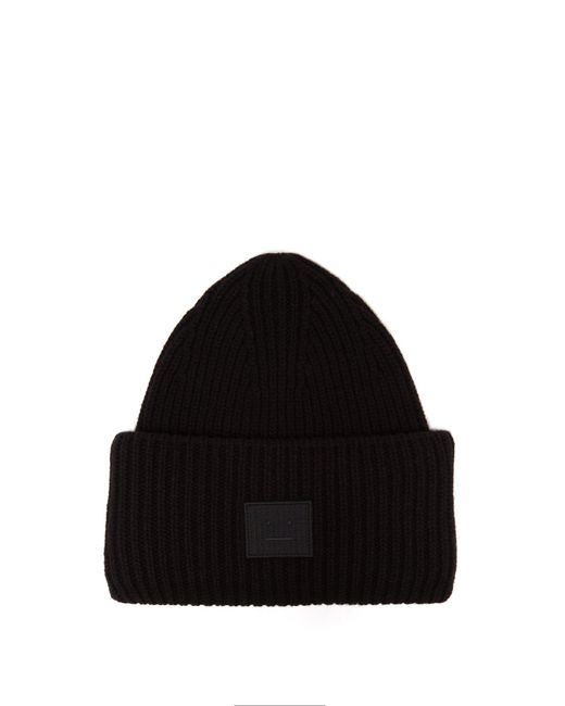 Acne - Black Pansy N Face Ribbed Knit Wool Beanie Hat for Men - Lyst