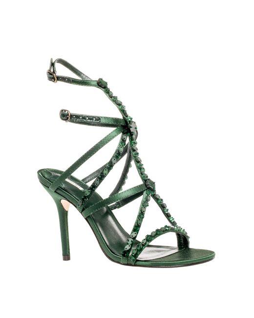 Leon Max - Green Satire : Beaded High Heel Satin Sandals - Lyst