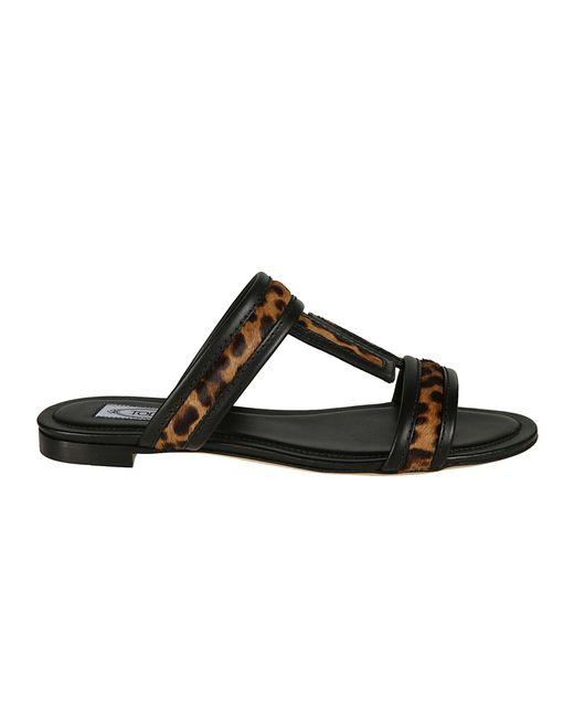 Tod's Black Faux Leather Sandals