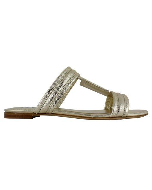 Tod's Metallic Gold Leather Sandals