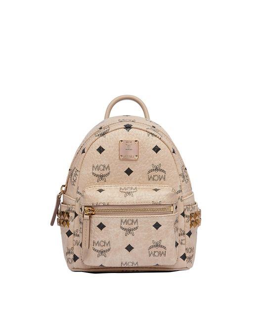 MCM - Natural Stark Side Studs Bebe Boo Backpack In Visetos - Lyst