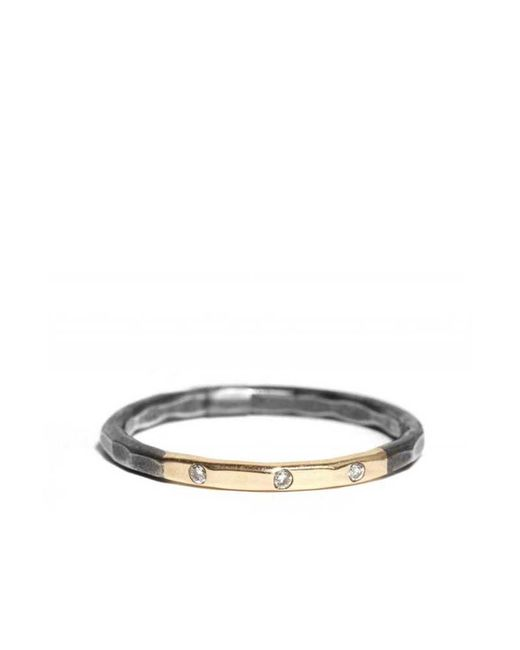 Melissa Joy Manning | Metallic Married Gold And Black Oxidized Silver Ring With 3 Diamonds | Lyst