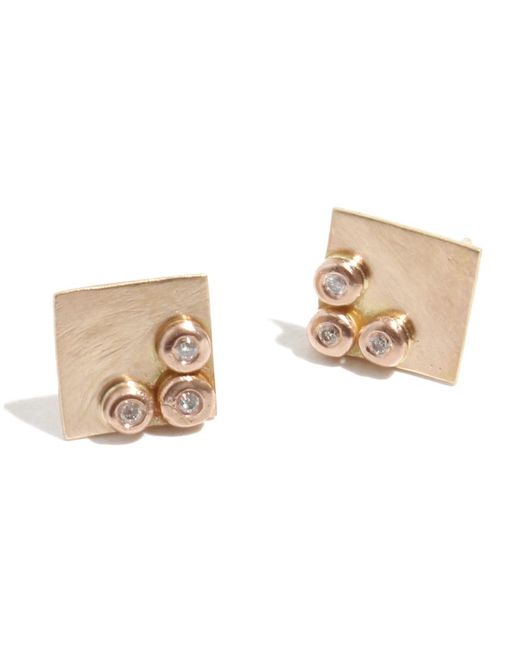 Melissa Joy Manning | Metallic Square Stud Earrings With Diamonds | Lyst