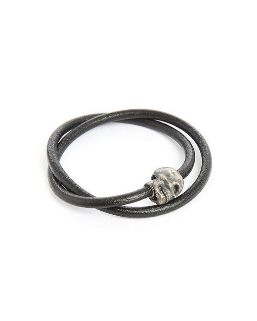 Tateossian | Metallic Berlin Skull Double Silver And Black Leather 36cm Bracelet for Men | Lyst