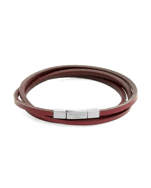 Tateossian   Metallic Fetuccinni Triple Bracelet 58 Cm In Silver And Red Leather for Men   Lyst