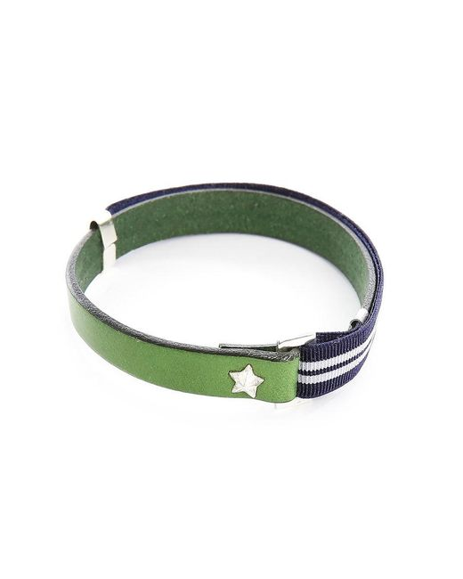 Gilbert Gilbert | Hen 13 Green Leather Adjustable Bracelet And Stretch Band for Men | Lyst