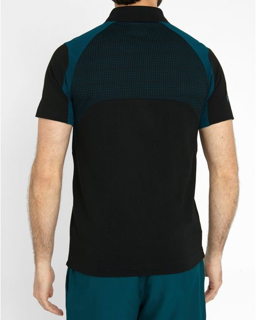Lacoste black and green technical pr polo shirt in green for Dark green mens polo shirt