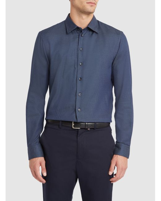 Armani | Blue Navy Micro Dots Small Collar Slim-fit Shirt for Men | Lyst