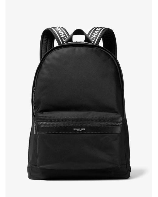Michael Kors - Black Kent Logo Tape Nylon Backpack for Men - Lyst