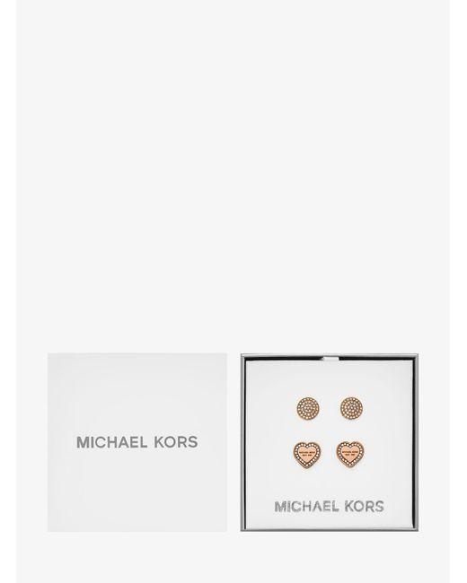 Michael Kors - Pink Rose Gold-tone Stud Earrings Set - Lyst