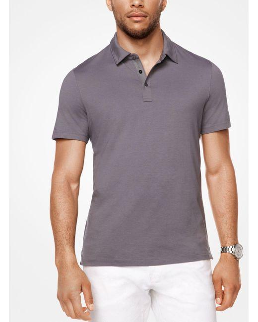 Michael Kors - Gray Cotton Polo Shirt for Men - Lyst