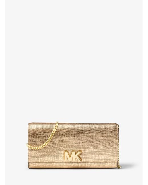 5e6123a764cc Lyst - MICHAEL Michael Kors Mott Metallic Leather Chain Wallet in ...