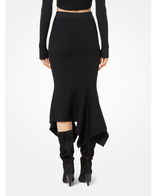 Michael Kors | Black Merino Ribbed Handkerchief Skirt | Lyst