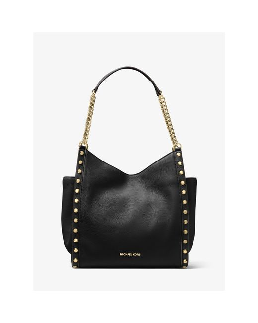 Michael Kors Newbury Studded Leather Chain Tote In Black
