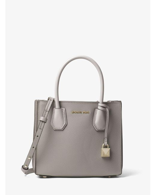 Michael Kors - Gray Mercer Pebbled Leather Accordion Crossbody - Lyst