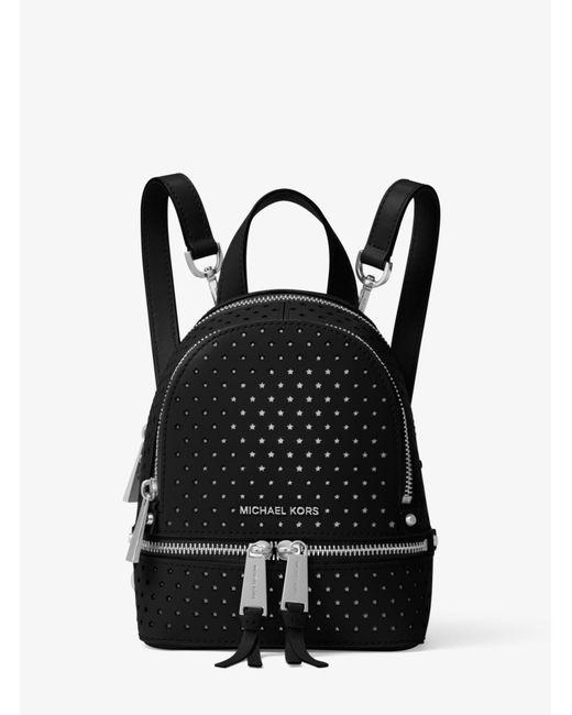 Michael Kors - Black Rhea Mini Perforated Leather Backpack - Lyst
