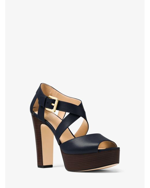 Michael Kors - Blue Jodi Leather Platform Sandal - Lyst
