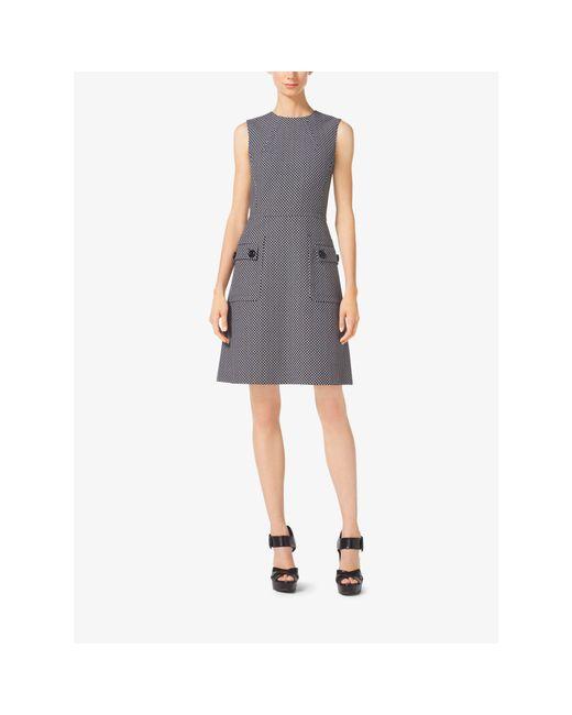 Michael Kors | Black A-line Wool-jacquard Dress | Lyst
