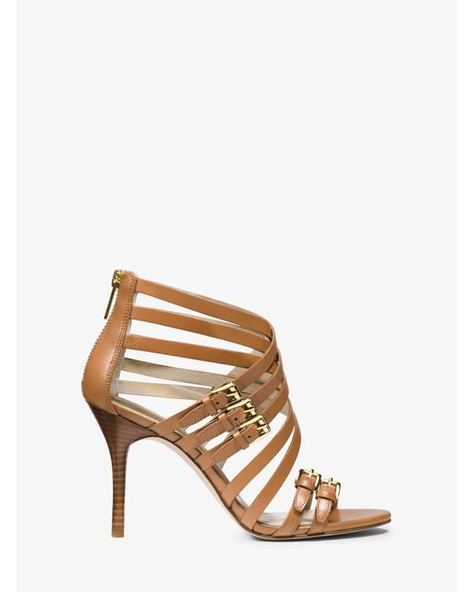 Michael Kors | Natural Ava Leather Sandal | Lyst