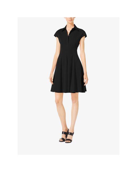 Michael Kors | Black Cap-sleeve Cotton-poplin Dress | Lyst
