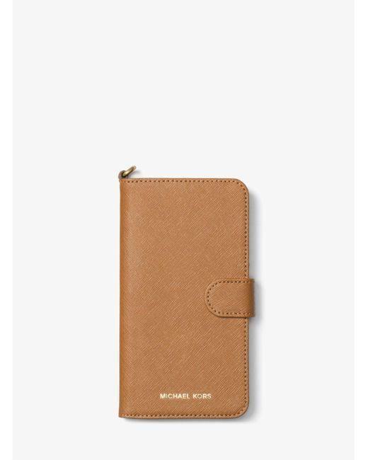 Michael Kors - Multicolor Saffiano Leather Folio Phone Case For Iphone7/8 Plus - Lyst