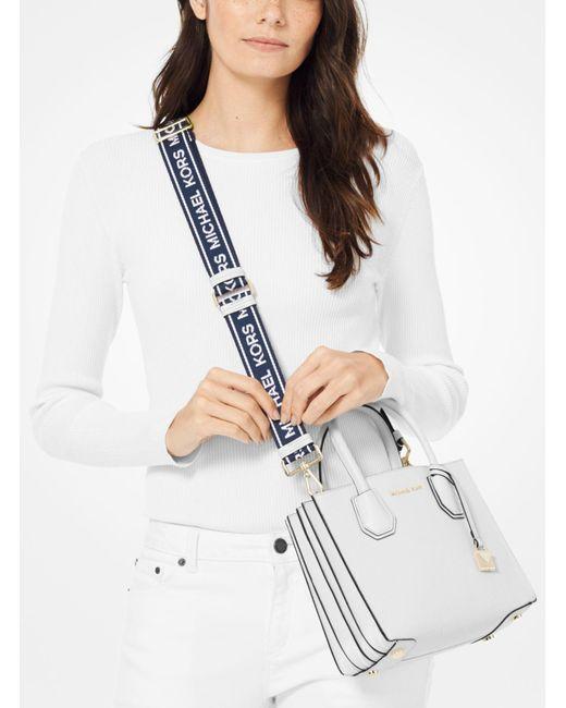 5245e32df5e54c ... Michael Kors - Multicolor Mercer Medium Leather Logo Tape Accordion  Crossbody Bag - Lyst