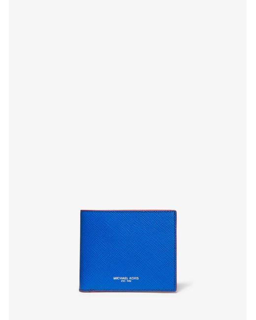 ccd22938efad Michael Kors - Blue Harrison Color-block Crossgrain Leather Billfold Wallet  for Men - Lyst ...