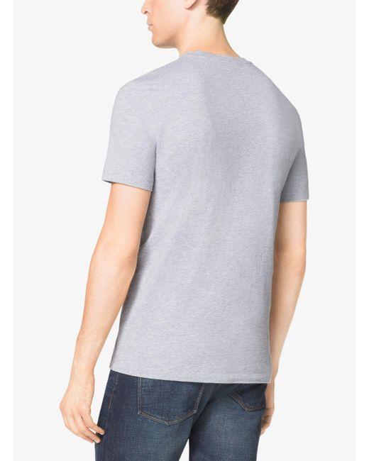 Michael Kors | Gray V-neck Cotton T-shirt for Men | Lyst