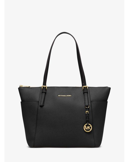 Michael Kors - Black Jet Set Large Top-zip Leather Tote - Lyst