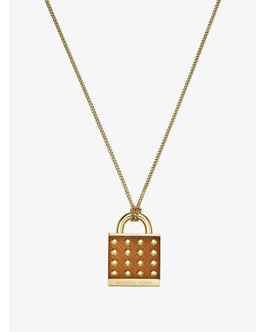 Michael Kors - Metallic Leather And Gold-tone Padlock Necklace - Lyst