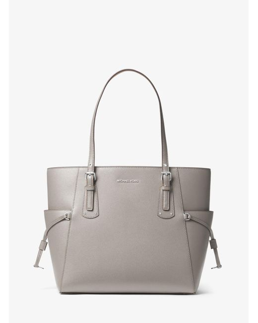 c6cebc4c9fbf27 MICHAEL Michael Kors - Gray Voyager Small Crossgrain Leather Tote Bag - Lyst  ...