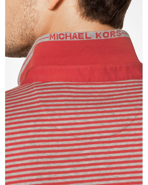 Michael Kors | Red Greenwich Striped Cotton Polo Shirt for Men | Lyst