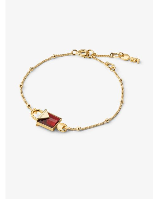 Michael Kors - Metallic Precious Metal-plated Sterling Silver Lock Bracelet - Lyst