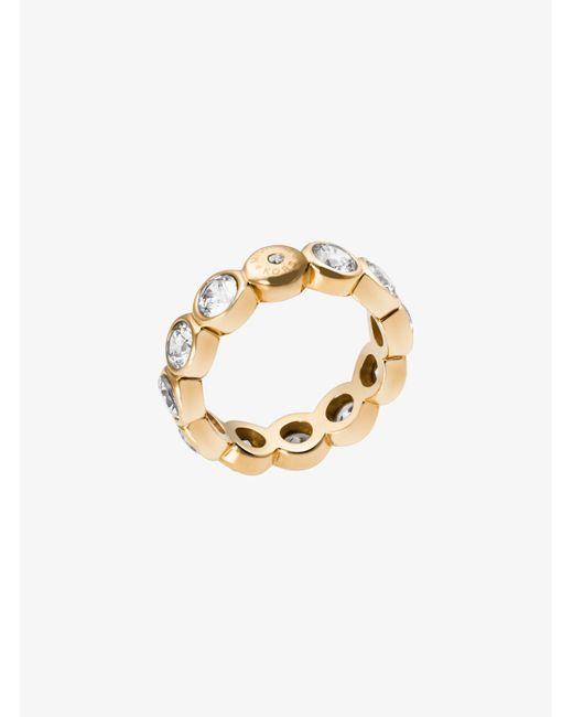 Michael Kors - Metallic Cubic Zirconia Gold-tone Circle Ring - Lyst