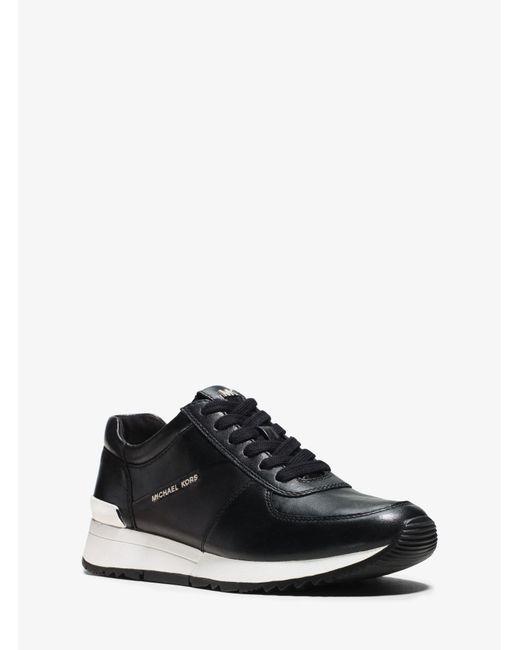 Michael Kors - Black Allie Leather Sneaker - Lyst