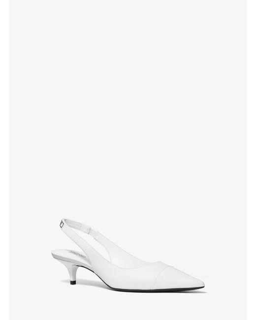 82622c9f63c87 ... Michael Kors - White Demi Leather Pump - Lyst ...