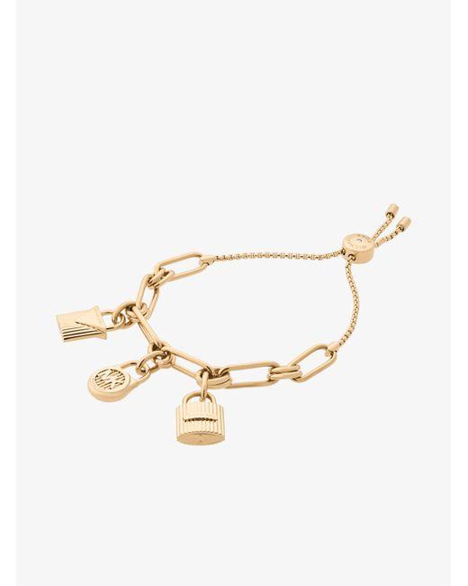 Michael Kors - Metallic Gold-tone Padlock Charm Slider Bracelet - Lyst
