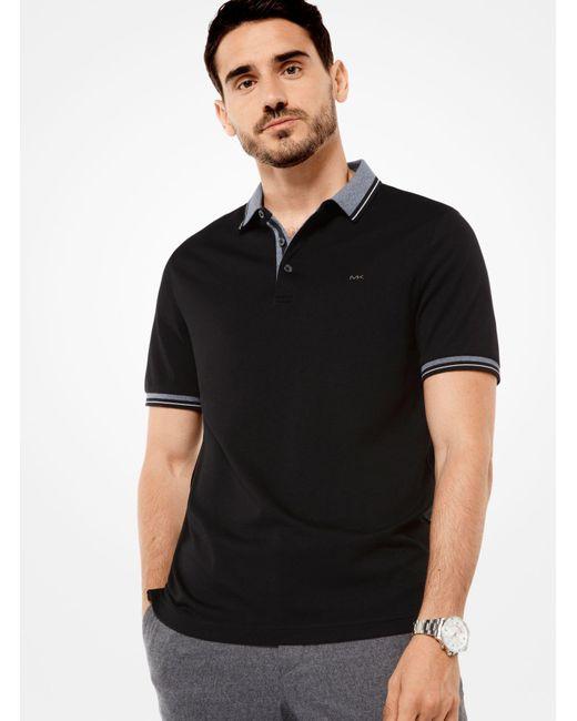 Michael Kors | Black Greenwich Cotton Polo Shirt for Men | Lyst