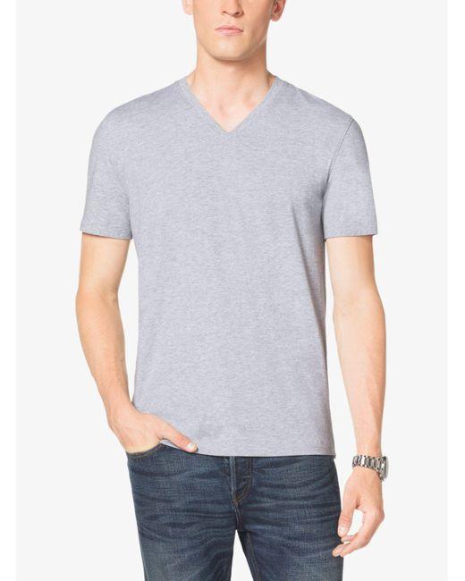 Michael Kors - Gray V-neck Cotton T-shirt for Men - Lyst