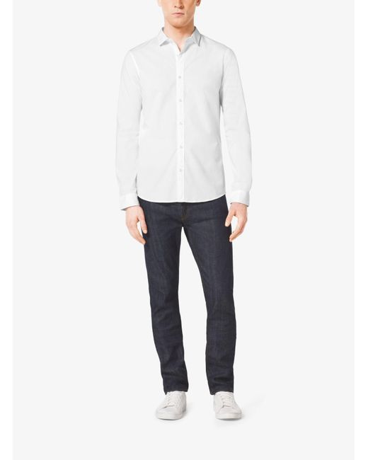 Michael Kors | White Slim-fit Stretch-cotton Shirt for Men | Lyst