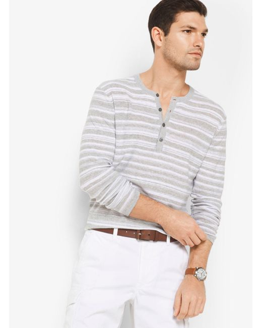 Michael Kors | Gray Striped Linen And Cotton Henley for Men | Lyst