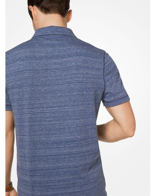 Michael Kors | Blue Space-dyed Cotton Polo Shirt for Men | Lyst