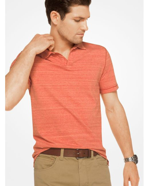 Michael Kors | Orange Space-dyed Cotton Polo Shirt for Men | Lyst